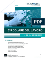 Circolare Del Lavoro n. 8 Del 25.02.2017
