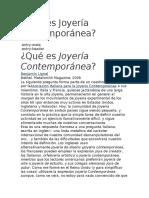 ¿Qué es Joyería Contemporánea?