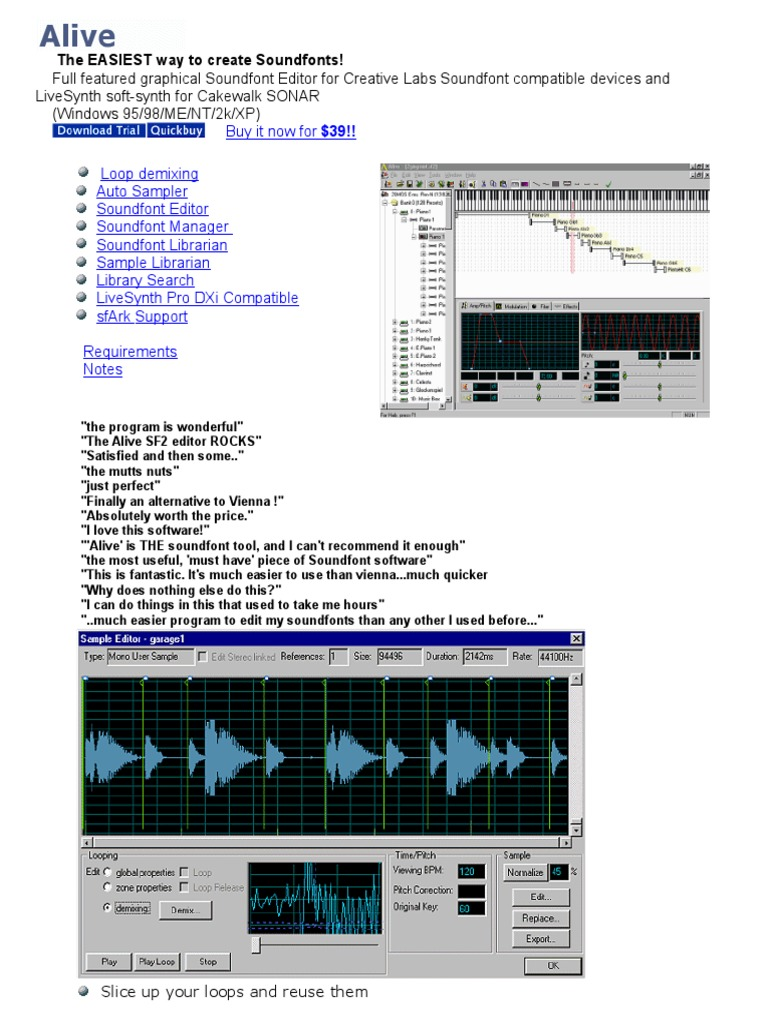 Buy It Now For $39!! Loop Demixing Auto Sampler Soundfont