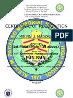 Certificate of Recognition Fun Run