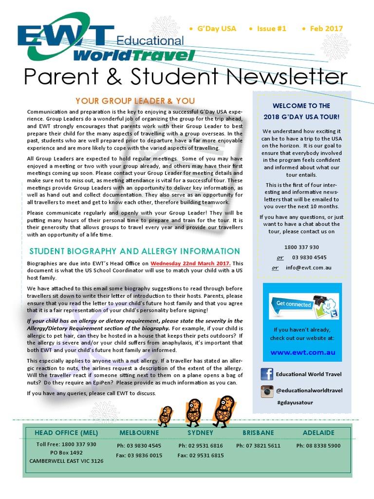 18jan parent student newsletter 1 february allergy travel visa spiritdancerdesigns Images
