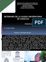 Deterioro de La Ciudad Universitaria de Caracas.