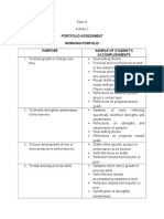 Portfolio Assessment Working Portfolio and Sample of Students Accomplishme3nts