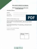 Maths Familiarisation Paper DAO2015