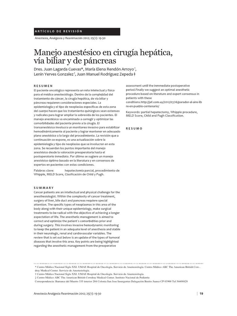 Manejo Anestésico en Cirugía Hepática, Vía Biliar y de Páncreas