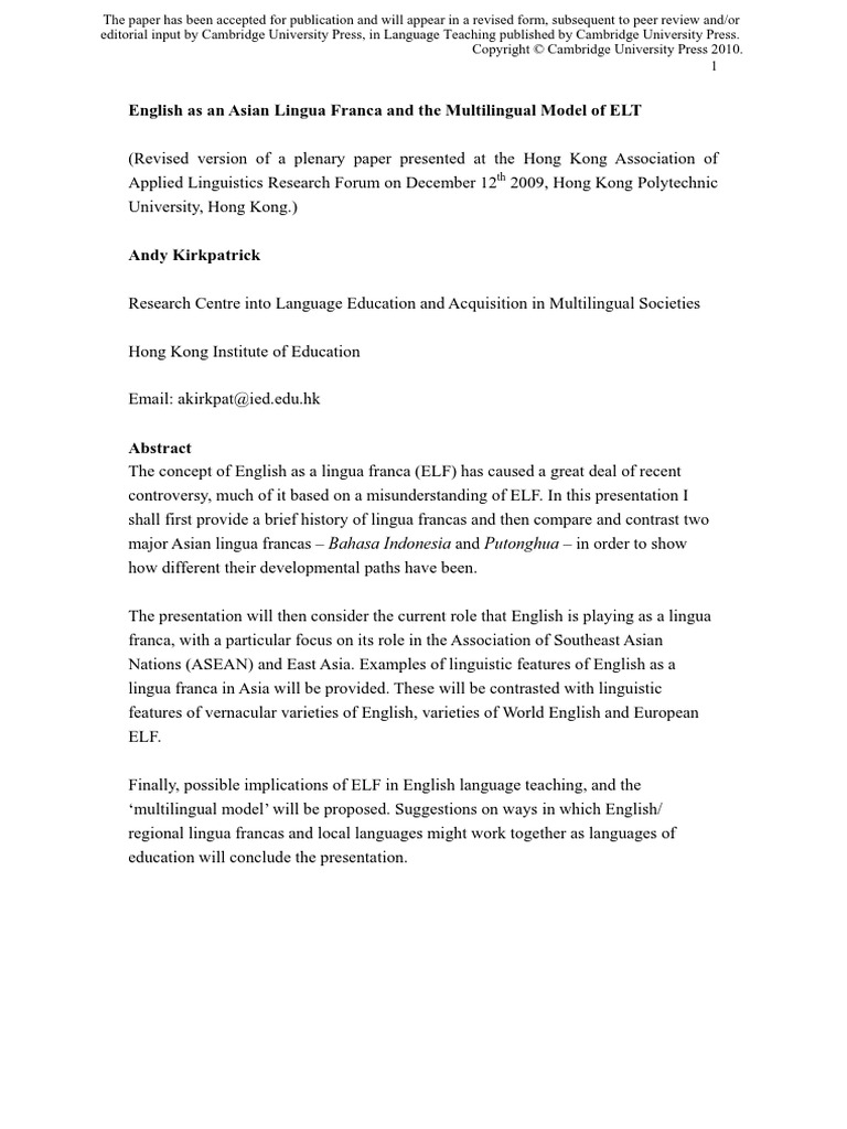 English As An Asian Lingua Franca And The Multilingual Model Of Elt