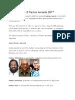 Complete List of Padma Awards 2017