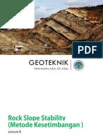 Geotek - 08 - Rock Slope Stability (Metode Kesetimbangan )