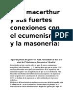 Jhon Macarthur y Sus Fuertes Conexiones Con El Ecumenismo y La Masoneria