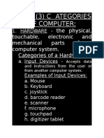 Categories of a Computer