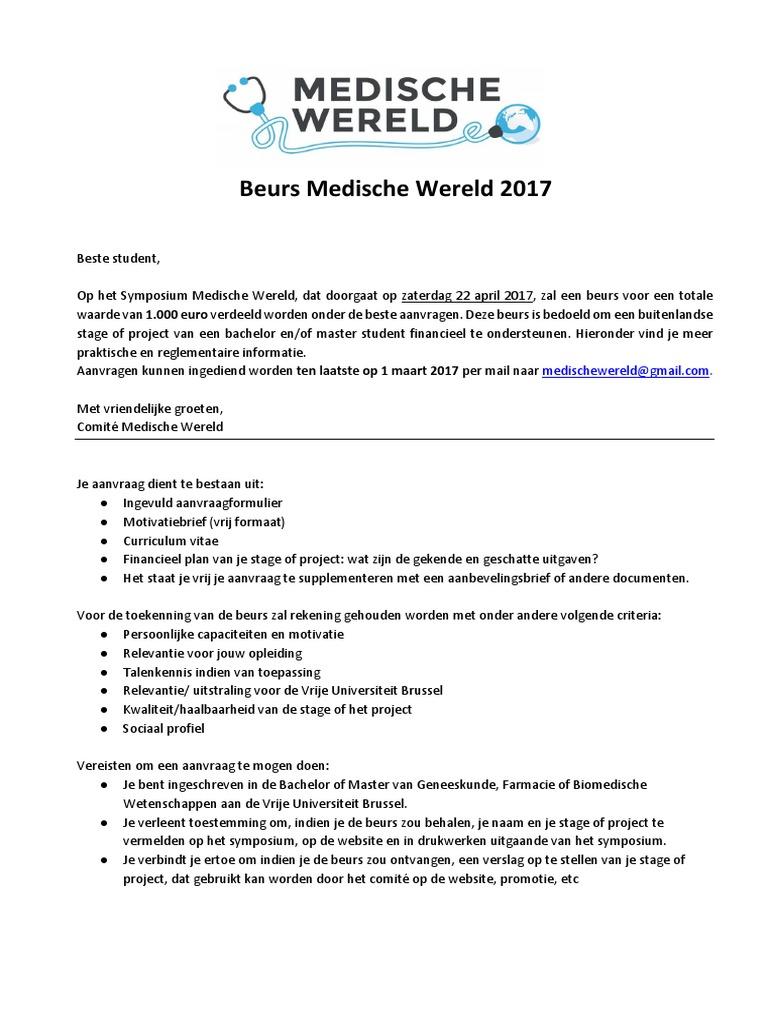 motivatiebrief beursaanvraag Beurs Medische Wereld 2017
