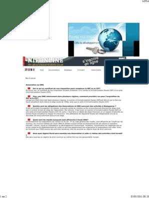 Carte Dimmatriculation Fiscale Madagascar.Association Ou Ong Non Governmental Organization Value