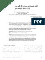 Algunas reflexiones  sobre las pioneras del trabajo social y el papel de la educacion  . Miguel Miranda Aranda