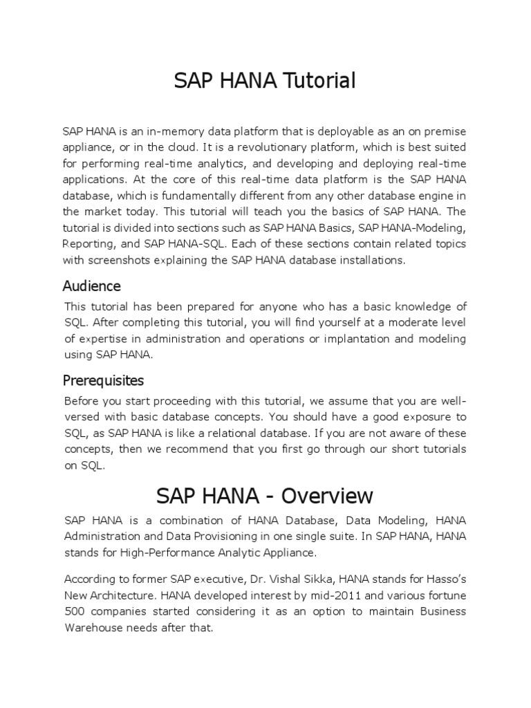SAP HANA Definitions | Databases | Sql