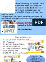 Monday 27.02.17 World Book Day Parent Information