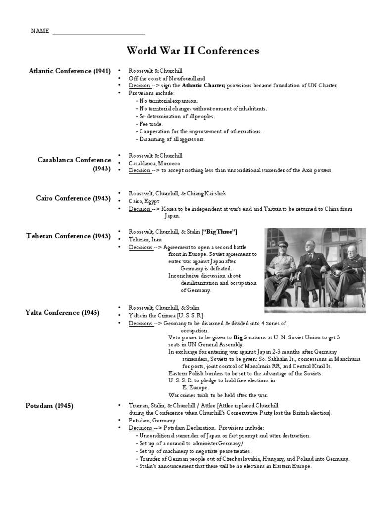 Wwi Conferences Ho Aftermath Of World War Ii World War Ii