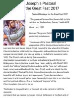 Metropolitan Joseph's Pastoral Message for the Great Fast 2017 | Antiochian Orthodox Church