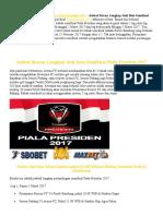 Jadwal Siaran Lengkap Judi Bola Semifinal Piala Presiden 2017