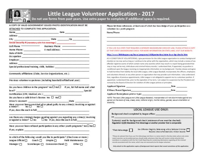 2017 volunteer application   Background Check   Criminal Record