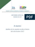 A Marzo - Análisis de La Canasta Escolar Al Inicio Del Ciclo Lectivo 2017