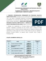 Aviso de Publicação Resultado Preliminar Saae 001 2017