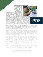 Relación de La Pedagogía y La Educación
