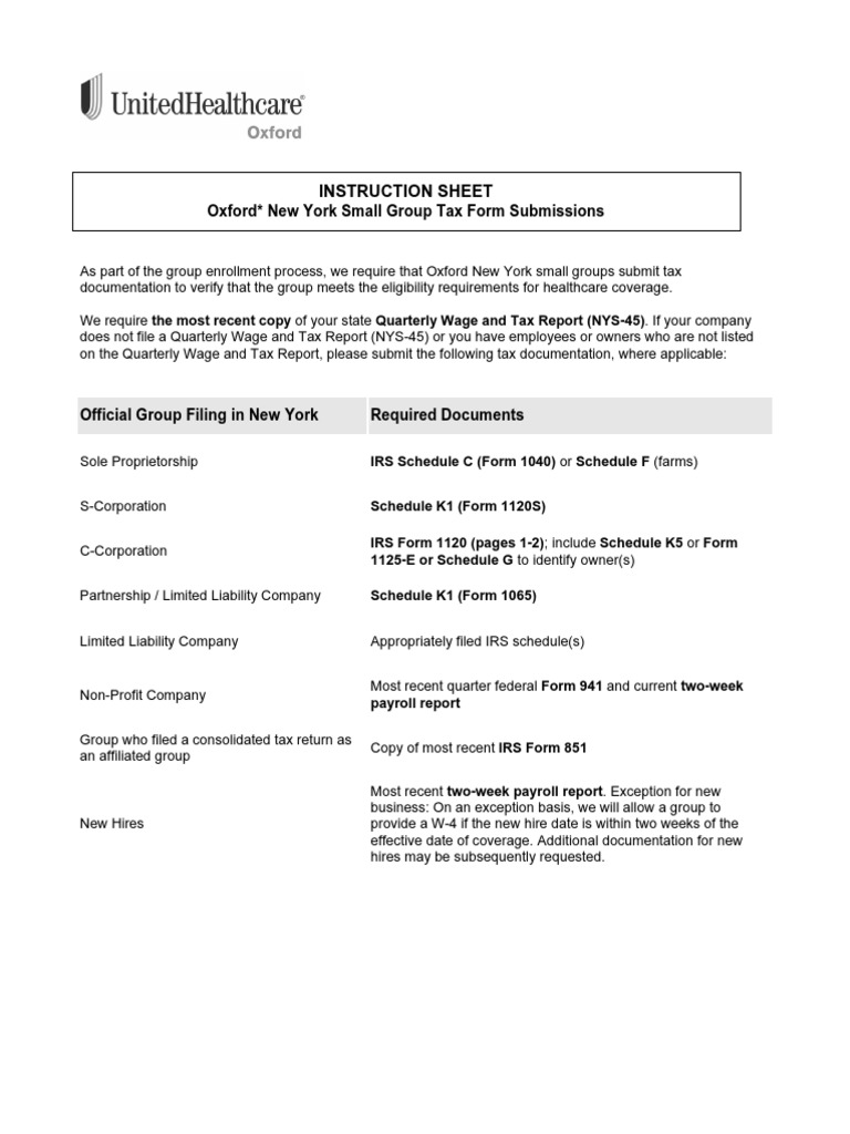 NY Small Group Tax Form Submissions Instruction Sheet.pdf | Irs Tax ...