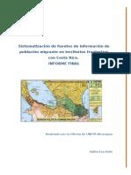 Sistematizacion de Fuentes de Informacion Sobre Poblacion Migrante en Territorios Fronterizos Con Costa Rica (Ultimo)Docx