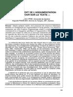 Einseignament de l'Argumentation Et Retour Sur Le Texte