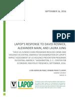 LAPOP's Response to David Rosnick, Alexander Main and Laura Jung