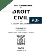 Manuel Élémentaire de Droit Civil - e. Colmet de Santerre