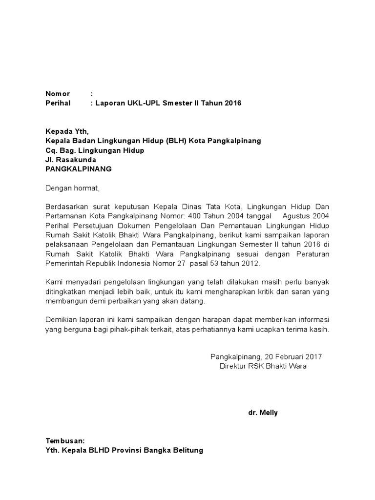 Surat Pengantar Laporan Izin Lingkungan Ukl Upl