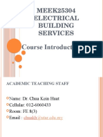MEEK25304 - Building Electrical Services Course Introduction