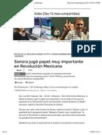 Sonora jugó papel muy importante en Revolución Mexicana