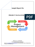Sample Report On Project Management By Instant Essay Writing