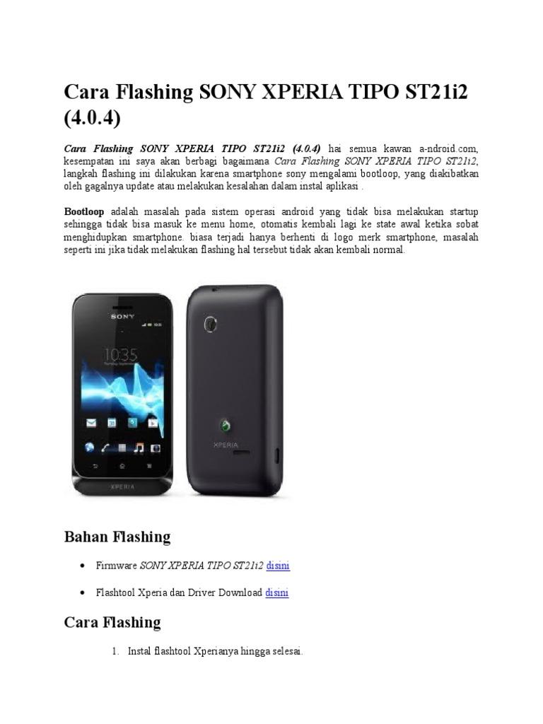 Cara Flashing Sony Xperia Tipo St21i2