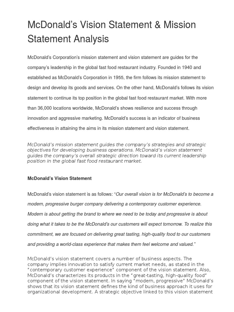 Mcdonalds Business Strategic Management Organizational Culture