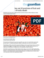 Forget five a day, eat 10 portions of fruit and veg to cut risk of early death | Society | The Guardian