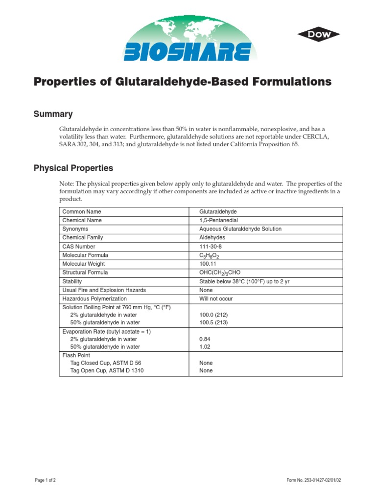 Properties Of Glutaraldehyde Based Formulationspdf
