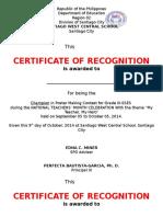 Certificate Teachers' Day