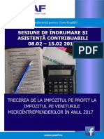 Sesiune de Îndrumare Contribuabili Impozit profit la Impozit micro