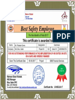 prakash best safety employee award certificate for month feb 2017