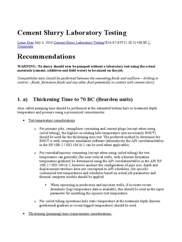 Cement Slurry Laboratory Testing | Casing (Borehole) | Permeability (Earth  Sciences)