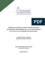 Diseño de Un Sistema de Control de Gestión Para El Departamento de La Facultad de Ciencias de La Salud de l