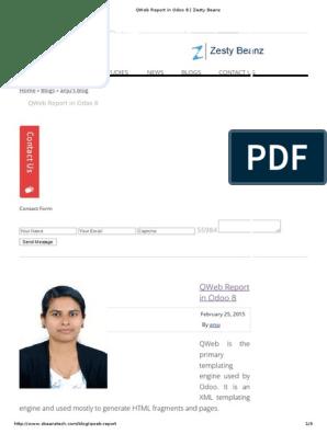 QWeb Report in Odoo 8 _ Zesty Beanz | Xml | Document Object