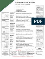 2016-17 Fauquier County Public School calendar