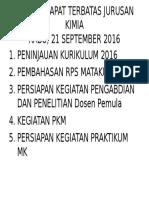 Agenda Rapat Terbatas Jurusan Kimia
