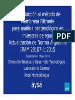 11 Metodo de Membrana Filtrante Capacitacion RELAS MAYO 2016 CORDOBA