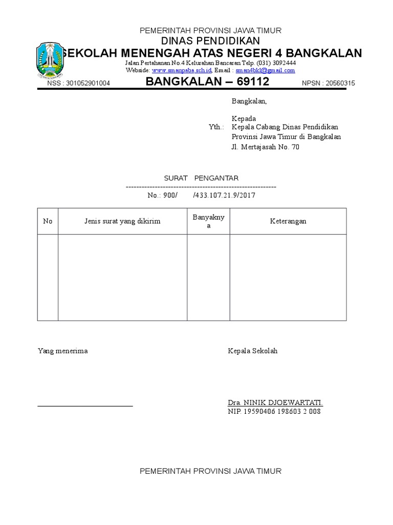 Kop Surat Provinsi Jawa Timur - Contoh Kop Surat