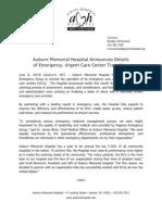 Auburn Memorial Names Company to Run ECU